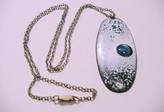 SALE blue and white enamel metal oblong pendant necklace abstract design vintage