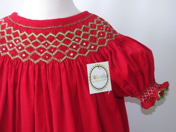 Toddler Smocked Christmas dress Corduroy Smocked by handsmocked