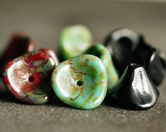 Three Petal Czech Glass Bead 10x12mm Basics Mix - 12 pc Flower Mix
