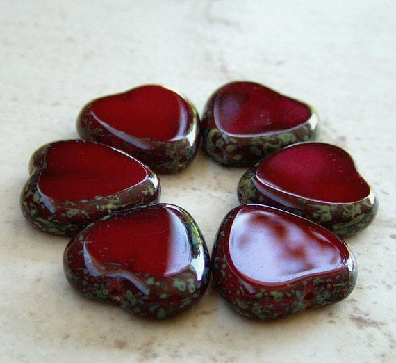 Czech Glass Heart Bead Oxblood Red Picasso 15mm : 6 pc