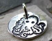 Silver Octopus Charm, PMC Fine Silver, Sea Creature Jewelry