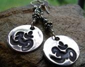 Silver Om Dangle Earrings, PMC Fine Silver, Yoga Jewelry