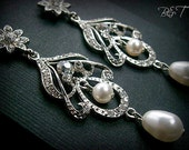 Bridal Chandelier Earrings Classic Victorian Wedding Flower And Scroill With Cream Pearls And Crystals  Bridal Earring