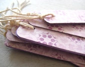 Long Gift Tags set of 8 Pretty Elegant and chic - Purple Lilac print - double sided tags