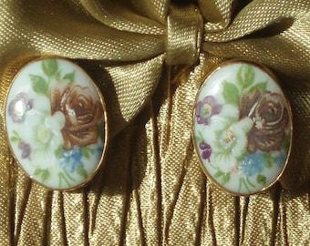 Vintage Victorian Edwardian Style Handpainted Milkglass  Earrings, Bridal Earrings