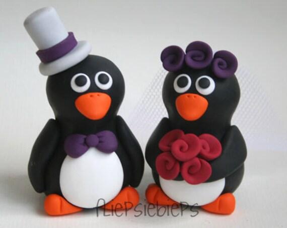 Custom Wedding Penguin Cake Topper