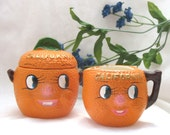 Vintage California Oranges Table Set - Anthropomorphic Cream & Sugar 3-Piece Set