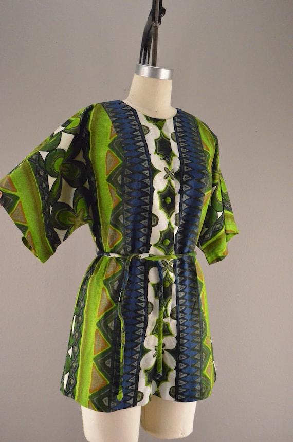 reserved for Gemma 1960s Hawaiian romper   Vintage barkcloth shorts  60s ethnic onesie Size medium Tiki green Kimono