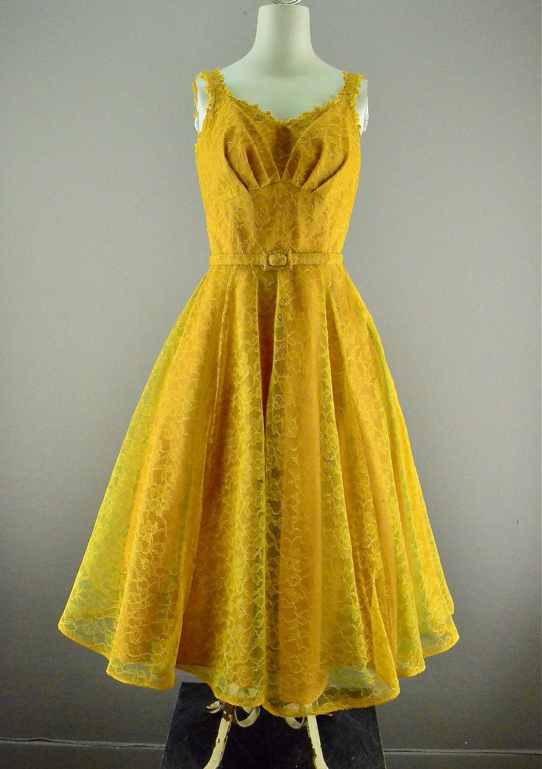 1950s Party Dress Vintage Prom Dress 50s Mustard Yellow
