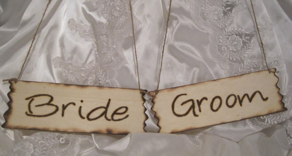 Rustic Wedding Signs Mr Mrs Bride Groom Chair Sign Photo Prop Reception Natural Woodburned