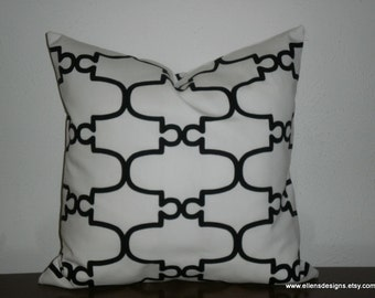 Decorative PIllow Cover,18 inch, Black on White Moroccan Print,Free Domestic Shipping, Same Fabric Front and Back, Invisible Zipper
