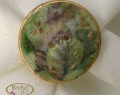 Ceramic BUTTON, Handcrafted Antique Look Ceramic Button, Gold Embelishments, Tiny Flowers
