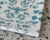 Swan River Damask - Small Piece - Turquoise on White