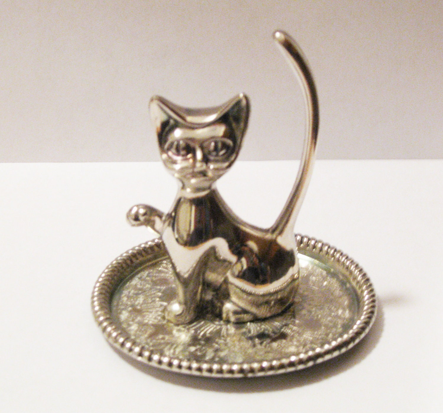vintage silver plated cat ring holder jewelry holder silver