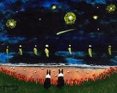 Boston Terrier dog Large Folk art PRINT of Todd Young painting Lake Lights