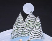 Winter Snow Small Mini Folk Art PRINT of Todd Young painting Christmas Sheep