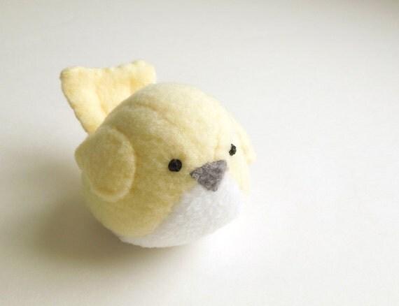 Small Pale Yellow Bird Stuffed Animal Childrens Handmade Plush Toy