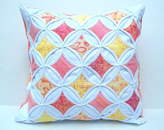 30% Off Decorative Pillow Cover Batik Peach Yellow Pink Cathedral Window 18 Inches