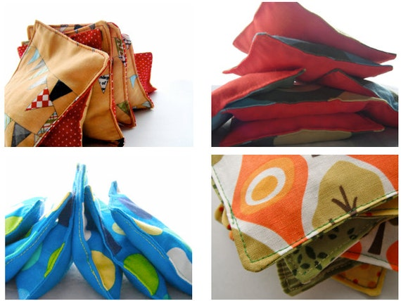 SURPRISE PACK- Six Real Bean Bags, in Surprise Prints, Sale, Clearance, Grab Bag