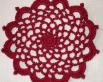 "New Handmade Crocheted ""83"" Coaster/Doily in Burgundy"