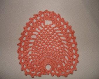 "New Handmade Crocheted ""Little Pineapple"" Coaster/Doily in Peach"
