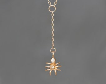 Tiny Spider Dangle Necklace in 14k Gold