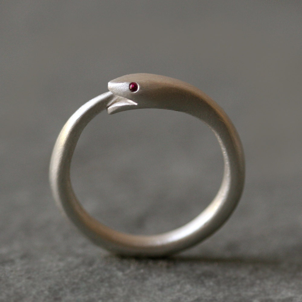 ouroboros snake ring in sterling silver with gemstones