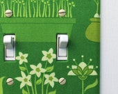 Double Standard Fabric Light Switch Plate Cover - green with flowering plants