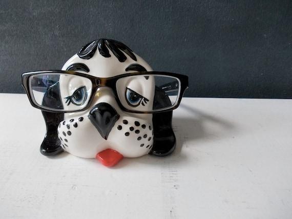 Kitschy Eye Glasses Holder : Vintage Ceramic Dog Figurine