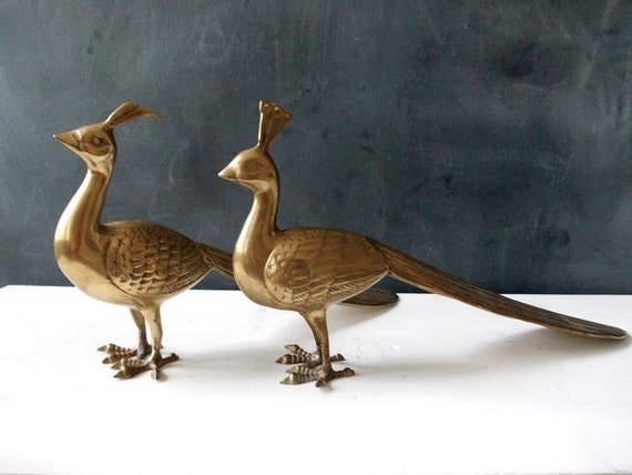 Large Brass Peacocks : Pair of Vintage Brass Animals