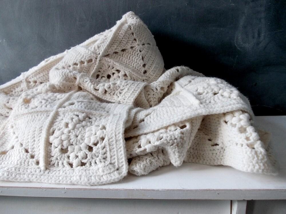 Cream White Granny Square Blanket Vintage Afghan Crochet