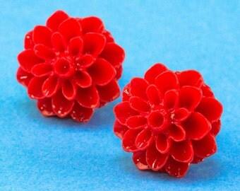 Chrysanthemum Flower Ear Posts - Red