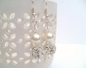 Ivory Pearl and Rhinestone Earrings, Bridal Pearl Earrings, Bridesmaid Earrings, Custom Colours, Wedding Jewelry, Dangle Earrings