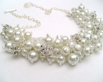 Set of 3 - White Pearl and Rhinestone Beaded Necklace, Bridal Jewelry, Cluster Necklace, Chunky Necklace, Bridesmaid Gift, Kim Smith