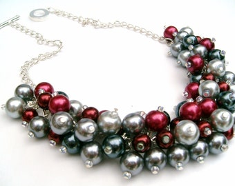 Red and Gray, Cluster Necklace, Winter Wedding, Pearl Necklace, Pearl Beaded Necklace, Bridal Jewelry, Chunky Pearl Necklace, Christmas