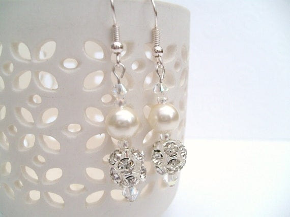 Ivory Pearl and Rhinestone Earrings, Bridal Pearl Earrings, Bridesmaid Earrings, Custom Colours, Wedding Jewelry, Dangle Earrings
