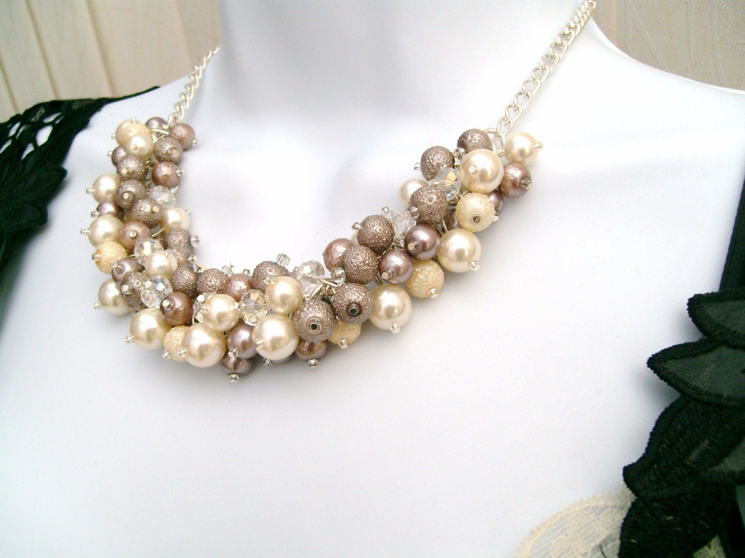 Pearl Beaded Necklace Bridal Jewelry Ivory And Taupe