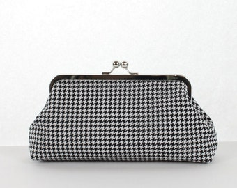 Bridesmaid Clutch Bridal Party Gift Black White Houndstooth Purse
