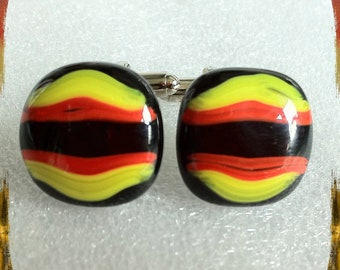 Retro Hand Crafted Fused Glass Cufflinks - Yellow Red Black Silver Tone T-Bar - Gift Boxed