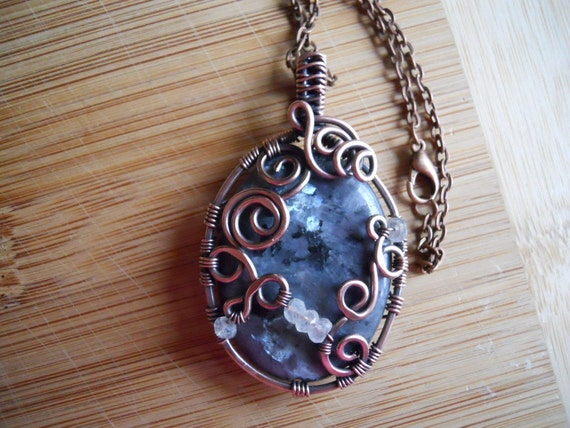 Black Labradorite Larvikite Pendant with Moonstones Wire Wrapped in Hammered Oxidized Copper