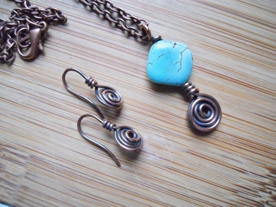 Turquoise Dyed Howlite Swirl Copper Wire Wrapped Pendant and Earrings Oxidized