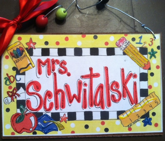 Hand Personalized teacher classroom name sign