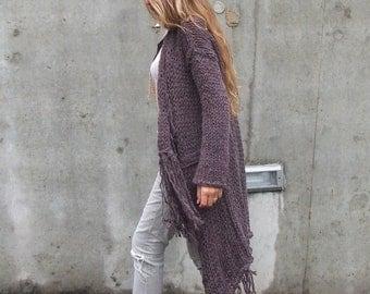 purple sweater, purple cardigan, BOHO Fringe sweater coat, women's sweater cardigan