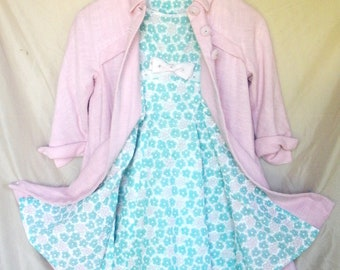 Vintage Little Girls Ensemble - Floral Dress and Coat