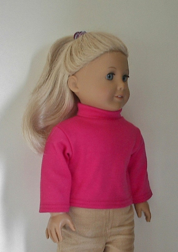 American Girl Doll Clothes: Long Sleeve Watermelon Pink Turtleneck for 18 Inch American Girl Doll