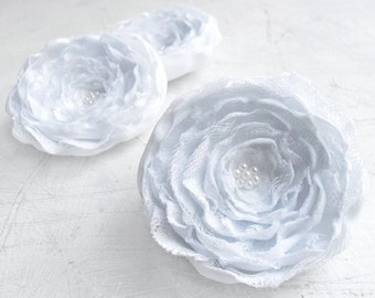 3 Big handmade white fabric flowers