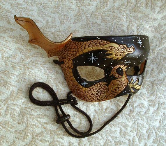 Bronze Dragon Mask... Starry Night.... hand made original leather mask