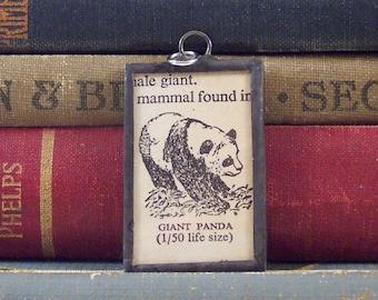 SALE - P is for Panda Pendant - Soldered Glass Charm w/ Vintage Dictionary Page - Dictionary Pendant -  Panda Charm - Mongram Letter P