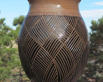 Black and Brown Vase - Hand Carved - See shop for more OOAK pieces