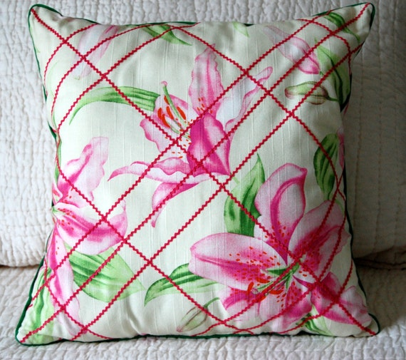 Stargazer Lilies Linen Cushion SALE, free shipping, floral, pink and white, lattice, garden, bedding, window seat, shabby chic, cottage